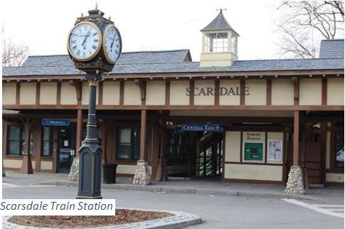 Scarsdale train station with caption on photo